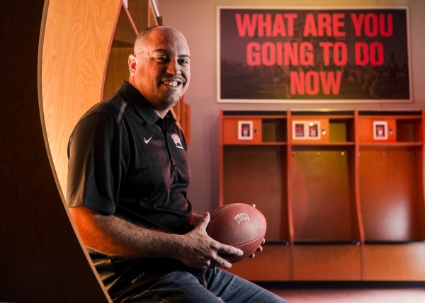 UNLV Men's Football Coach Tony Sanchez sits for a photo in the locker room at the Lied Athletic Complex on the campus of UNLV, 4505 South Maryland Parkway, on Thursday, March 5, 2015. The fo ...