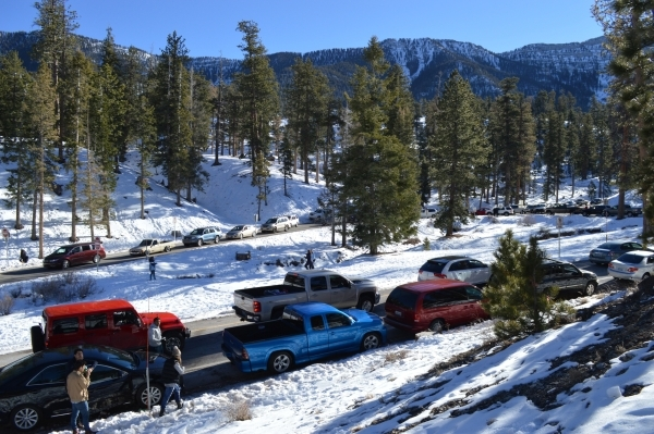 People play in roadside show in Lee Canyon on Mount Charleston in December 2014. (Courtesy Lee Canyon winter resort via Mount Charleston Winter Alliance)