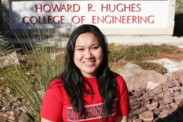 Katie Lau, a biomedical engineering student from Rutgers University, poses for a photo in front of the Science and Engineering Building at UNLV on Thursday, Dec. 24, 2015. Lau led a team which cre ...