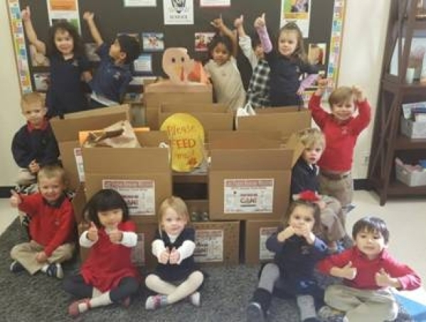 In December, Students at Merryhill Preschool in Las Vegas on Snow Trail filled nine boxes with more than 370 nonperishable food items to donate to the Las Vegas Rescue Mission. Special to View