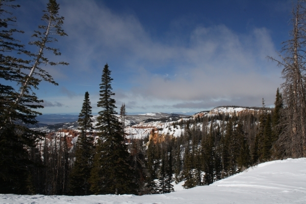 Those on cross country skis, snowshoes or snowmobiles have access to dozens of rim views down into the natural amphitheater at Cedar Breaks National Monument. Deborah Wall/Special to View