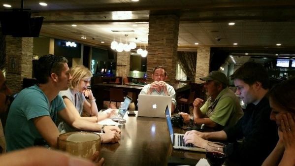 "Members of ""Downtown Podcast"" brainstorm ideas for upcoming shows. (Special to the Las Vegas Review-Journal)"