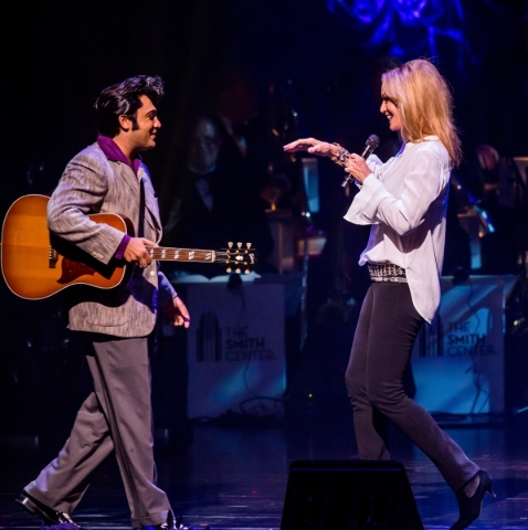 Elvis impersonator Justin Shandor joins Susan Anton onstage during The Smith Center's Nevada Sesquicentennial Concert in September 2014. COURTESY SMITH CENTER FOR THE PERFORMING ARTS