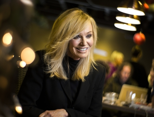 Veteran entertainer and longtime Las Vegan Susan Anton, sits for an interview at  Sambalatte , 750 S. Rampart Boulevard, on Tuesday, Dec. 29,2015.  She is making her Cabaret Jazz debut at The Smit ...