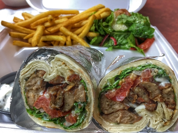 Pita House, 1310 E. Silverado Ranch Blvd., Suite 101, offers a variety of Mediterranean meals, including a gyros wrap served with French fries and a Fattoush salad. Fernando Lopez/Special to View