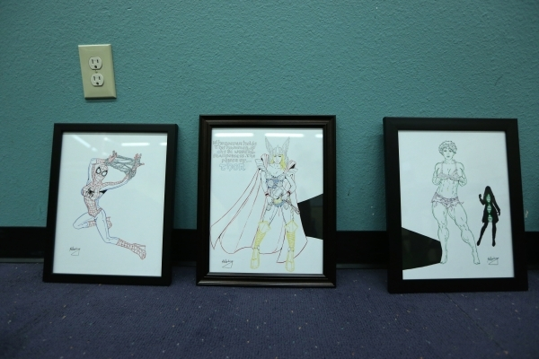 Drawings by Joshua Weinberg are seen on display for an upcoming gallery show titled Pop Culture Pin Ups at the Green Valley Library on Wednesday, Jan. 30, 2015 in Henderson, Nev. Erik Verduzco/Las ...