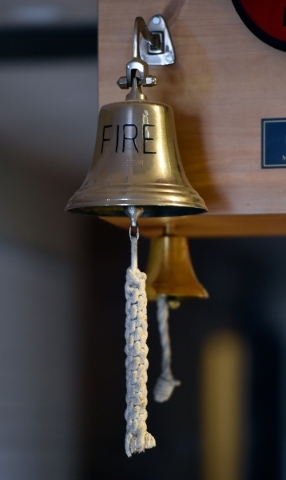 Dinner bells are seen hanging in the kitchen area at the Henderson Fire Department station 98 Monday, Jan. 4, 2016, in Henderson. David Becker/View