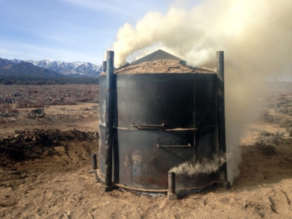 A kiln used by the Nevada Division of Forestry makes charcoal from pinion-juniper trees near Ely on Dec. 9, 2015. The process is an experiment on how to utilize forest products while helping to im ...