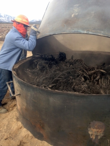 A Nevada Division of Forestry crew member prepares to collect charred pieces of pinion-juniper trees from inside a kiln near Ely on Dec. 9, 2015. The process is an experiment on how to utilize for ...