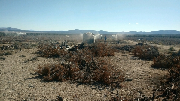 Crews with the Nevada Division of Forestry tend kilns as they make charcoal from pinion-juniper trees near Ely on Dec. 9, 2015. The process is an experiment on how to utilize forest products while ...