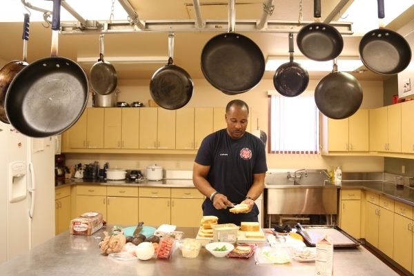 Capt. Michael Lee of the Clark County Fire Department station 28 prepares lunch for platoon #3 in Summerlin, Wednesday, Dec. 30, 2015 in Las Vegas. Rachel Aston/Las Vegas Review-Journal Follow @ro ...