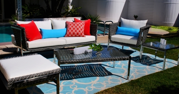 The Twin Palms collection of modern outdoor furniture from outside/in is inspired by the Palm Springs indoor and outdoor lifestyle. COURTESY