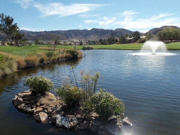 Hole No. 18's Turtle Island has an easternly view of the mountains at Desert Willow Golf Course, 2020 W. Horizon Ridge Parkway, in Henderson. Special to View