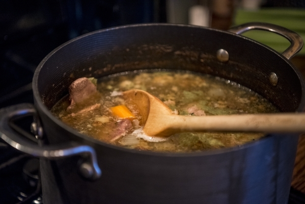 Soup simmers on a stove at a home in Las Vegas on Sunday, Jan. 3, 2015. Joshua Dahl/Las Vegas Review-Journal