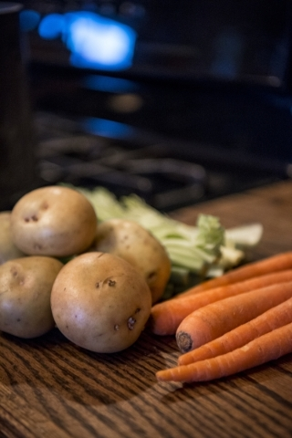 Vegetables rest on a counter at a home in Las Vegas on Sunday, Jan. 3, 2015. Joshua Dahl/Las Vegas Review-Journal