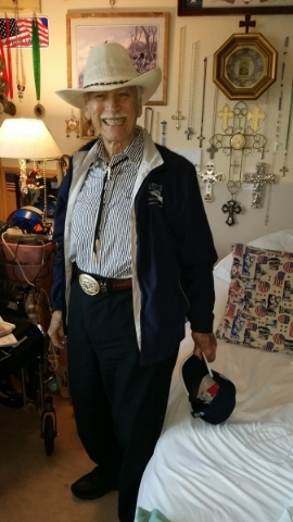 Charlie Demos Sr., seen in his room at Boulder City Veterans Home. (Courtesy)