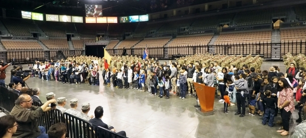 The children of the soldiers of the 17th Sustainment Brigade are recognized  at a mobilization ceremony