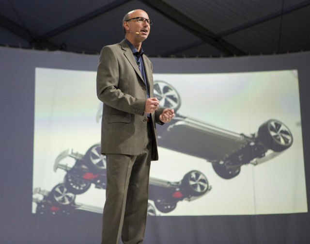 Faraday Future executive Nick Sampson speaks during the unveiling of the FFZero1 prototype at the Las Vegas Village Lot, 3901 Las Vegas Boulevard South on Monday, Jan. 4, 2016. Faraday is schedule ...