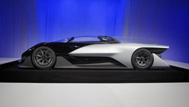 The Faraday Future FFZero1 prototype is seen during the unveiling event at the Las Vegas Village Lot, 3901 Las Vegas Boulevard South on Monday, Jan. 4, 2016. Faraday is scheduled to build a $ 1 bi ...