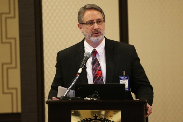 Jude Hurin, DMV Services Manager for the Nevada Department of Motor Vehicles, speaks during the Automated Vehicle Public Policy Workshop at the Golden Nugget casino-hotel Tuesday, Jan. 5, 2016, in ...