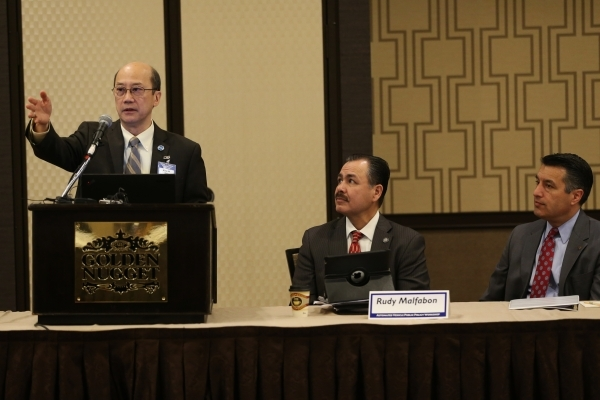 King Gee, from left, director of engineering and technical services at the American Association of State Highway and Transportation Officials, speaks during the Automated Vehicle Public Policy Wor ...