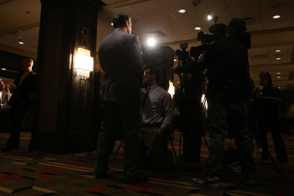 Gov. Brian Sandoval speaks to media during the Automated Vehicle Public Policy Workshop at the Golden Nugget casino-hotel Tuesday, Jan. 5, 2016, in Las Vegas. Erik Verduzco/Las Vegas Review-Journa ...