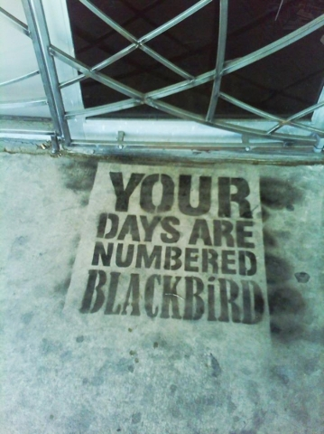 Gina Quaranto  is closing Blackbird Studios following a final closing event on Jan. 15. The perpatrator of the iconic graffit in front of the door has never been revealed.  (Special to View)