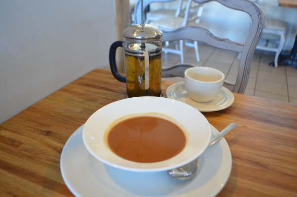 Rosallie Le French Cafe, 6090 S. Rainbow Blvd., features cold soups in summer, but in winter, hot soups, such as this vegetable soup, are offered alongside French press teas. Ginger Meurer/Special ...