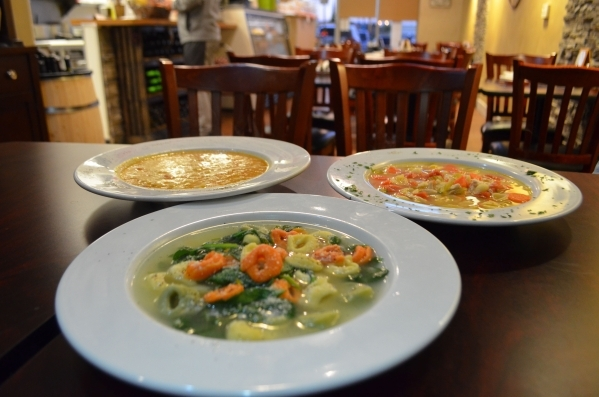 Spaghetty Western, 10690 Southern Highland Parkway, Suite 103, offers a soup of cheese tortellini and fresh spinach in homemade chicken broth, front, daily. Soups of the day include pasta fagioli, ...