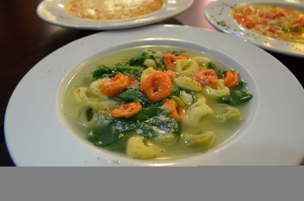 Spaghetty Western, 10690 Southern Highland Parkway, Suite 103, offers a soup of cheese tortellini and fresh spinach in homemade chicken broth, front, every day. Ginger Meurer/Special to View