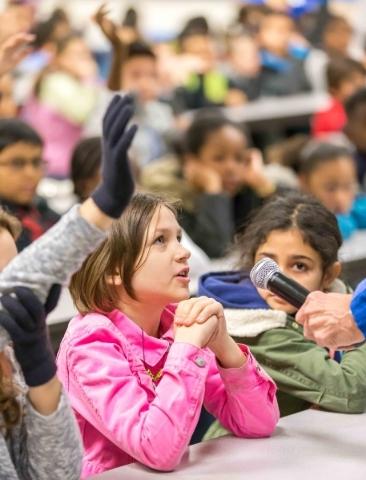 Katz Elementary School third grader Chloe, 9, asks a question of former NASA astronaut Dr. Don Thomas during a presentation at McMillan Elementary School on Wednesday, Jan. 6, 2016. Donavon Locket ...