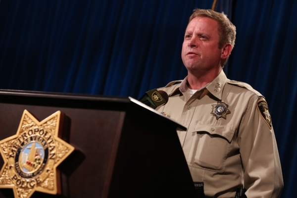 Las Vegas Metropolitan Police Department Undersheriff Kevin McMahill talks to the media about the New Year's Eve officer involved shooting at Metro Headquarters in Las Vegas on Monday, Jan.  ...