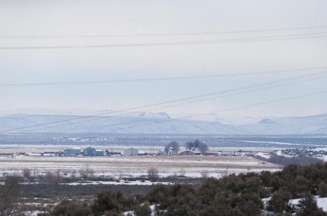 Homes are seen from the Malheur National Wildlife Refuge headquarters, which are occupied by anti-government protestors, near Burns, Ore. on Monday, Jan. 4, 2016. The protestors, many of them arme ...