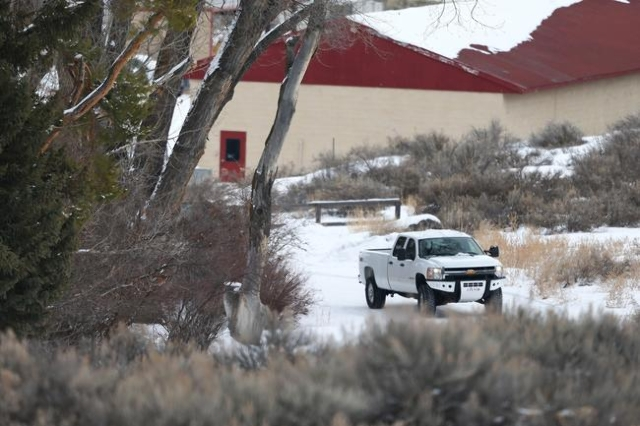 Anti-government protestors drive in a truck at the Malheur National Wildlife Refuge headquarters, which they are occupying, near Burns, Ore. on Monday, Jan. 4, 2016. The protestors, many of them a ...