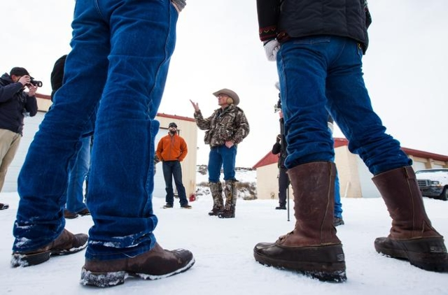 Anti-government protestor and Arizona rancher LaVoy Finicum speaks to area residents and reporters at the Malheur National Wildlife Refuge headquarters, which is occupied by the protestors, near B ...