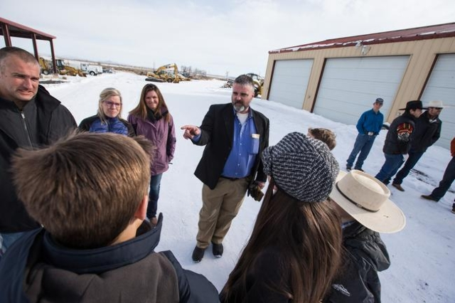 Anti-government protestor Jason Patrick speaks Burns, Ore. residents at the Malheur National Wildlife Refuge headquarters, which is occupied by the protestors, near Burns, Ore. on Monday, Jan. 4,  ...
