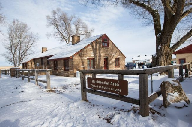 A building is shown at the Malheur National Wildlife Refuge headquarters, which is occupied by anti-government protestors, near Burns, Ore. on Monday, Jan. 4, 2016. The protestors, many of them ar ...