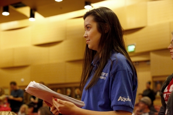 Petland employee, Angelika Tapia, waits her turn to speak before the Las Vegas City Council on an ordinance to ban the retail sale of cats and dogs on Wednesday, Jan. 6, 2016. Michael Quine/Las Ve ...