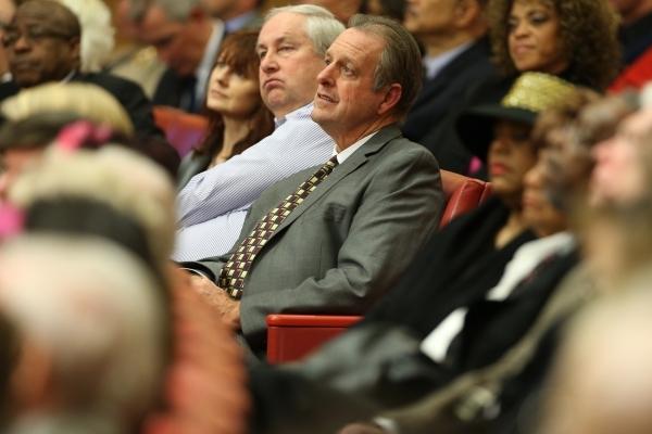 North Las Vegas Mayor John Lee listens to Las Vegas Mayor Carolyn Goodman deliver the annual State of the City address at Las Vegas City Hall on Thursday, Jan. 7, 2016, in Las Vegas. Erik Verduzco ...
