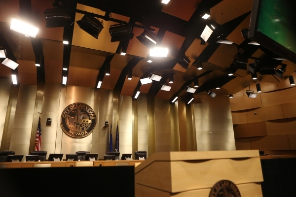 The stage is seen before annual State of the City address from Mayor Carolyn Goodman at Las Vegas City Hall on Thursday, Jan. 7, 2016, in Las Vegas. Erik Verduzco/Las Vegas Review-Journal Follow @ ...