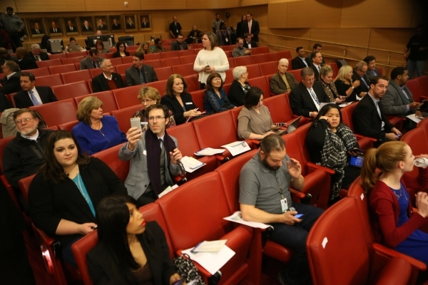 People take their seats for the annual State of the City address from Mayor Carolyn Goodman at Las Vegas City Hall on Thursday, Jan. 7, 2016, in Las Vegas. Erik Verduzco/Las Vegas Review-Journal F ...