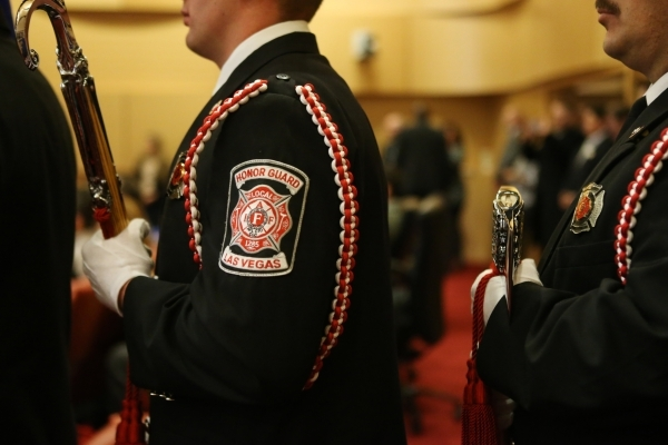 Las Vegas Fire Local 1285 Honor Guard get ready to present the colors during the annual State of the City address from wife Mayor Carolyn Goodman at Las Vegas City Hall on Thursday, Jan. 7, 2016,  ...
