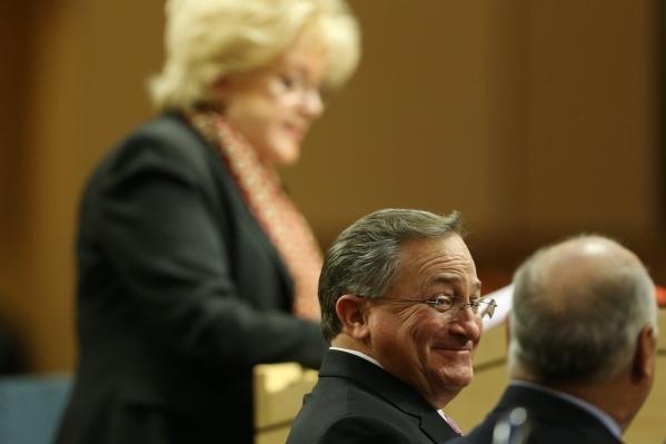 Las Vegas Councilman Steve Ross listens during the annual State of the City address from Mayor Carolyn Goodman at Las Vegas City Hall on Thursday, Jan. 7, 2016, in Las Vegas. Erik Verduzco/Las Veg ...