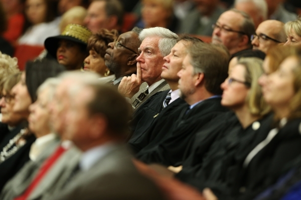 People listen to Mayor Carolyn Goodman deliver the annual State of the City address at Las Vegas City Hall on Thursday, Jan. 7, 2016, in Las Vegas. Erik Verduzco/Las Vegas Review-Journal Follow @E ...