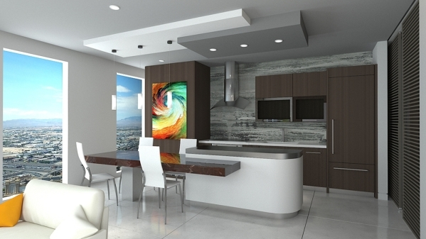 A rendering of unit No. 2503 shows the kitchen with a table made of Michael Angelo marble attached to its island consisting of white quartz slab counter tops. It will also include snow white tile  ...