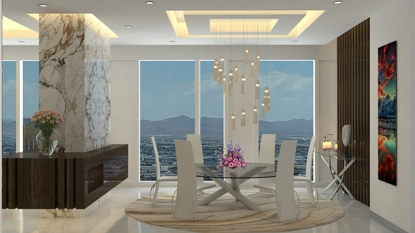 AFTER: This rendering shows unit No. 4101, which features a dining room with white marble floors, a custom light fixture, a unique artistic wall covered with Persian flourish artworks sanded on a  ...