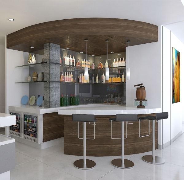 This rendering shows a large, rounded bar with white quartz slab countertops in unit 4102.  Courtesy