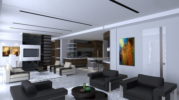 This rendering shows unit 4102, which will be listed for sale by the end of this month. It's ulta modern style is seen in the living room design. COURTESY