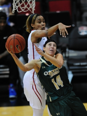 Colorado State guard Jamie Patrick (14) makes a layup in front of UNLV Rebels guard Dakota Gonzalez (12) in the second quarter of their NCAA women's college basketball game at the Cox Pavili ...