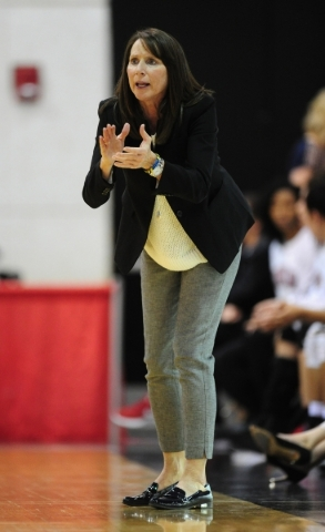 UNLV Lady Rebels head basketball coach Kathy Olivier is seen in the third quarter of their NCAA women's college basketball game at the Cox Pavilion Wednesday, Jan. 6, 2016. Josh Holmberg/Las ...